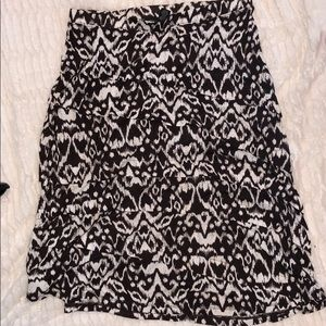 Brown and white A-line skirt